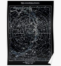 STAR CONSTELLATIONS: Vintage 1900 Galaxy Karte Poster