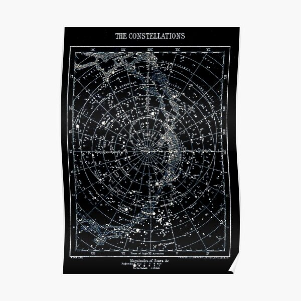 STAR CONSTELLATIONS : Vintage 1900 Galaxy Chart Map Poster