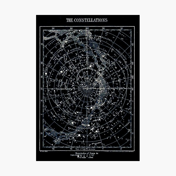STAR CONSTELLATIONS : Vintage 1900 Galaxy Chart Map Photographic Print