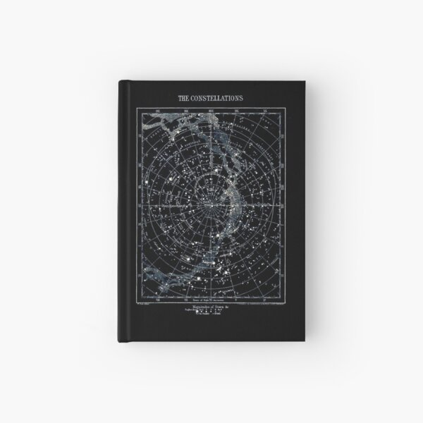 STAR CONSTELLATIONS : Vintage 1900 Galaxy Chart Map Hardcover Journal