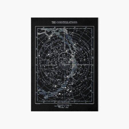 STAR CONSTELLATIONS : Vintage 1900 Galaxy Chart Map Art Board Print
