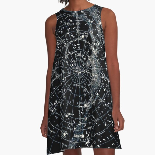 STAR CONSTELLATIONS : Vintage 1900 Galaxy Chart Map A-Line Dress
