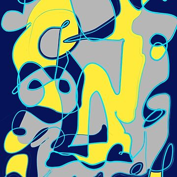 Navy blue yellow and grey abstract art by Christidesigns