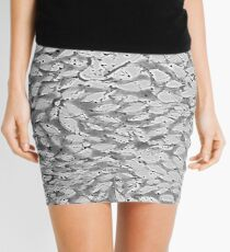 Soft Gray Leafy Abstract Monoprint from the Sun Dappled Collection Mini Skirt