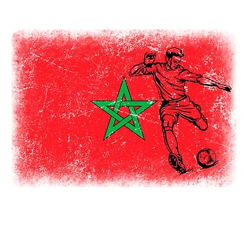 World Cup Russia 2018 Vintage Style Morocco Flag Football Soccer by jonawillian