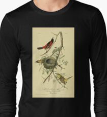 James Audubon Vector Rebuild - The Birds of America - From Drawings Made in the United States and Their Territories V 1-7 1840 - Orchard Oriole or Hang Nest Long Sleeve T-Shirt
