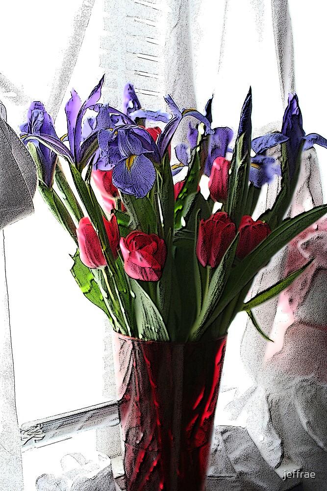 Tulip Bouquet in window by jeffrae