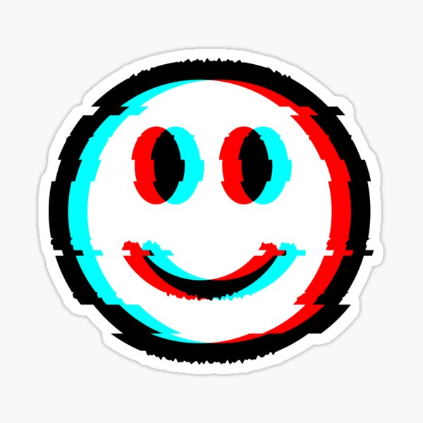 Glitch Smiley Face Sticker