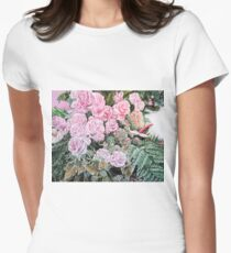 A LIFE TIME COMMITMENT - Pink Roses And Anthuriums  Women's Fitted T-Shirt