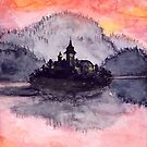 Magical town on lake watercolor painting by Wieskunde