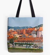 Skyline of Maribor city Tote Bag