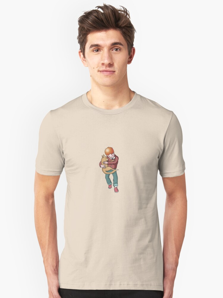 cat and boy Unisex T-Shirt Front
