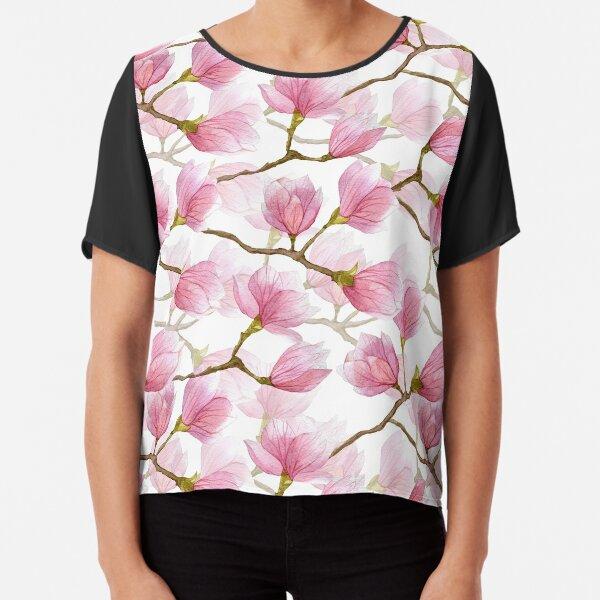Watercolor magnolia blossom tree  Chiffon Top