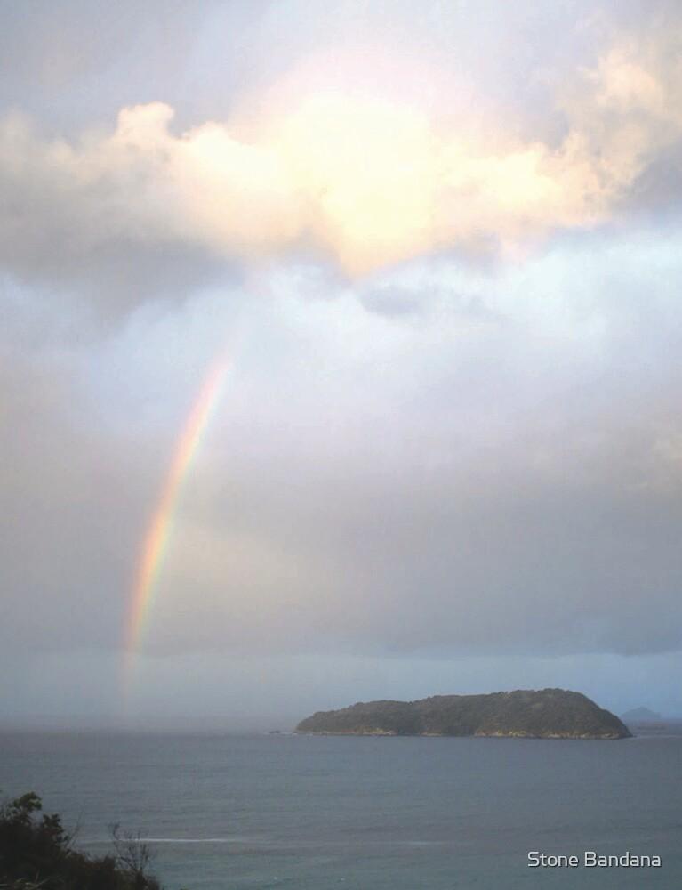 Sunset Rainbow over Shoe Island from Mt Paku Tairua New Zealand by Stone Bandana