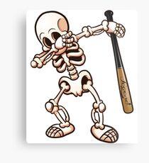 Baseball Dabbing Skeleton Metal Print