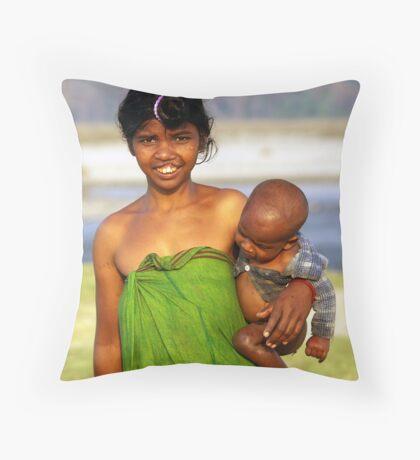 An Assamese girl with her baby son Throw Pillow