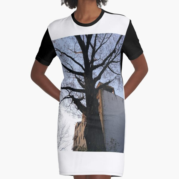 Happiness, Building, Skyscraper, New York, Manhattan, Street, Pedestrians, Cars, Towers, morning, trees, subway, station, Spring, flowers, Brooklyn Graphic T-Shirt Dress