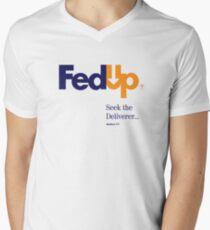 Fed Up?...Seek the Deliverer, Matthew 7:7 Men's V-Neck T-Shirt