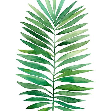 Watercolor palm branch leaves green by lex-sky