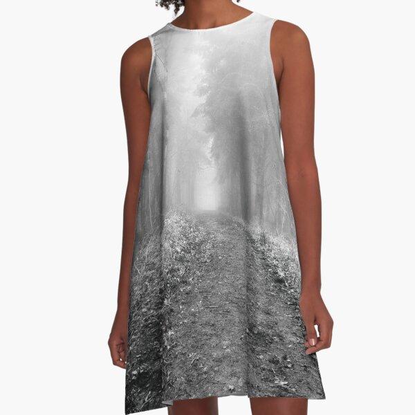 Walk through the woods on a foggy morning A-Line Dress