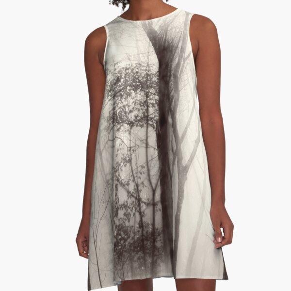 Beech tree within a foggy wood A-Line Dress