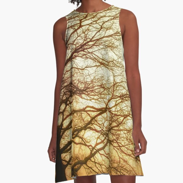 Golden Oak Tree Skeleton A-Line Dress