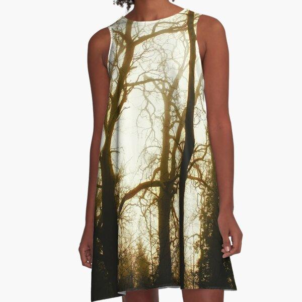 Tree Skeletons in fog A-Line Dress