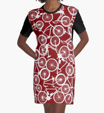 Pile of White Bicycles Graphic T-Shirt Dress