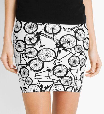 Pile of Black Bicycles Mini Skirt