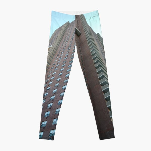 Tower block, High-rise building, Happiness, Building, Skyscraper, New York, Manhattan, Street, Pedestrians, Cars, Towers, morning, trees, subway, station, Spring, flowers, Brooklyn Leggings