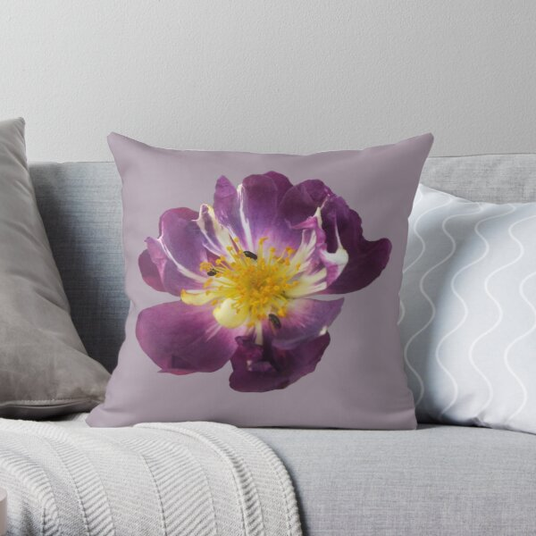 Bugs on a Rose - Moody Blues Throw Pillow