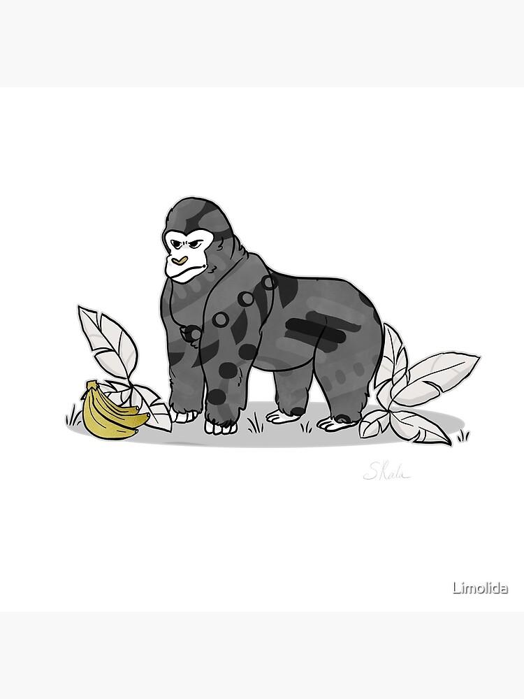 Gorilla Bananas Funny Wild Animal Graphic Black White With