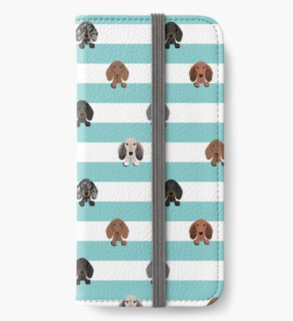 dachshund stripes dog breed doxie gifts iPhone Wallet
