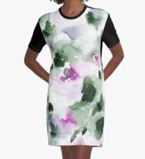Green and violet Spring Abstract Watercolor  Graphic T-Shirt Dress