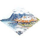 Scandinavian Lofoten Islands Minimalist Watercolor Painting by Jasanna Czellar