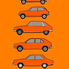 Classic Renault (R4, R5, R16, R14, R12) Car Art Collection by RJWautographics