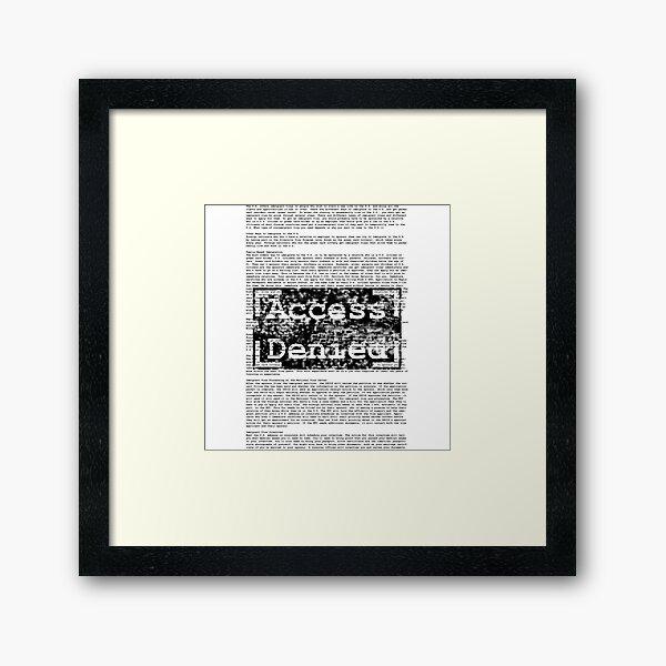 Access Denied text stamp design Framed Art Print