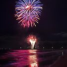 Fireworks Over the Beach by Ersu Yuceturk
