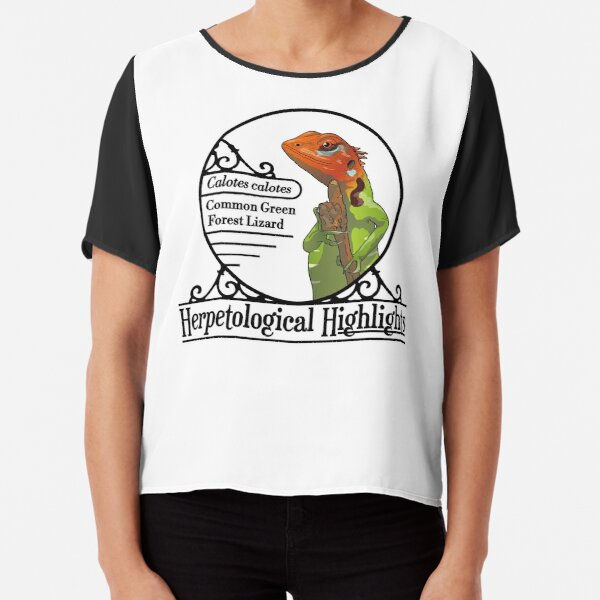 Calotes calotes – Common Green Forest Lizard Chiffon Top