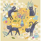 black cats flowers by craftipixel