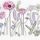 Botanical Doodle with Poppies by Linda Ursin