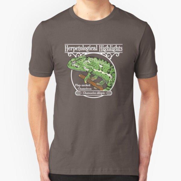 Flap-necked chameleon - Chamaeleo dilepis | White Slim Fit T-Shirt