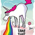 Unicorn throwing up rainbow by claudiasartwork