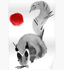 watercolor squirrel. Watercolor hand drawn brush vector  Poster