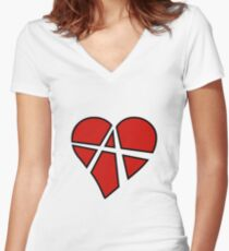 Anarchist Heart Red Women's Fitted V-Neck T-Shirt