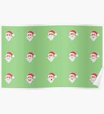 Santa Claus collection of Christmas. Characters cute flat. Funny cartoon character with different emotions. Poster