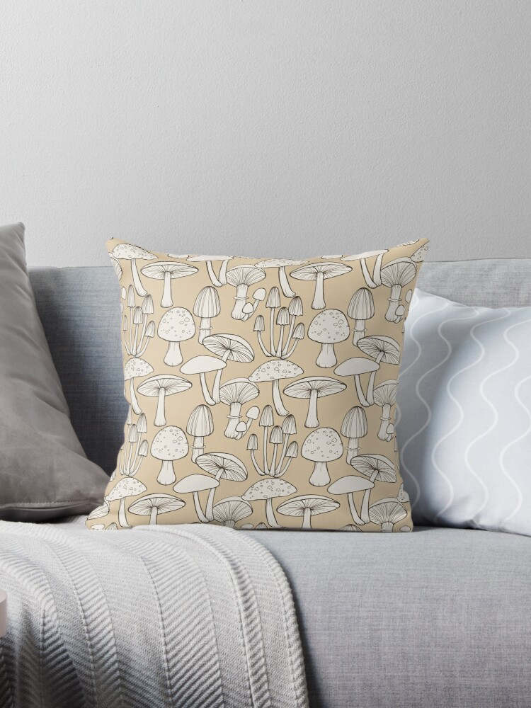 Line Drawing Mushrooms Pattern in taupe by Hazel Fisher