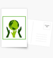 Green Hands Earth. Environment. Postcards