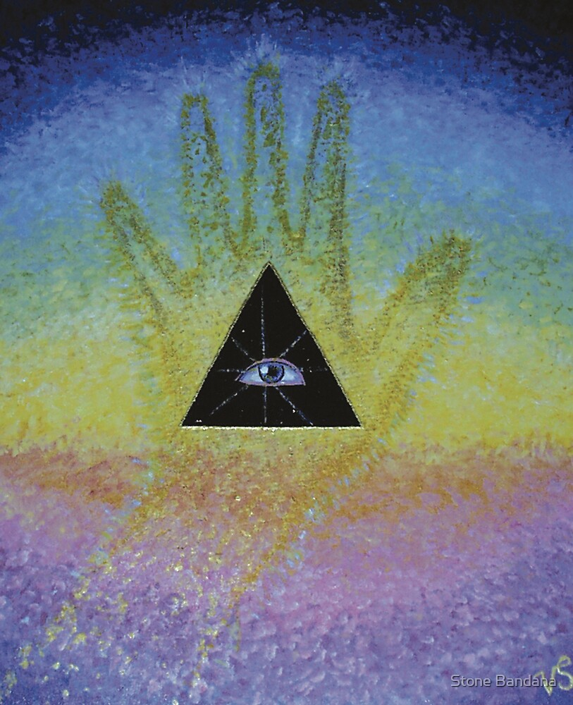 Eye in Triangle in Palm on Spectrum of Seven  by Stone Bandana