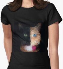 Polygonal head of a cat with two faces and one green and one blue eye, geometric animal face,triangular kitten graphic isolated on black background. Women's Fitted T-Shirt